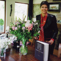 Sandra Niessen with flowers and gifts after the Amsterdam launch of Legacy in cloth